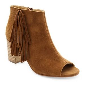 Cognac Peep Toe Suede Shoes, Stylish Fringe detail